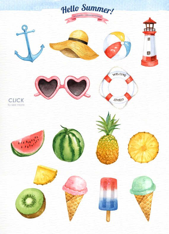 Hello Summer Watercolor clipart, Tropical Clip Art, Summer Clipart, Beach Clipart, Nautical Clipart,Shell, Pineapple, Fruit, Ice cream #colorpalettecopies