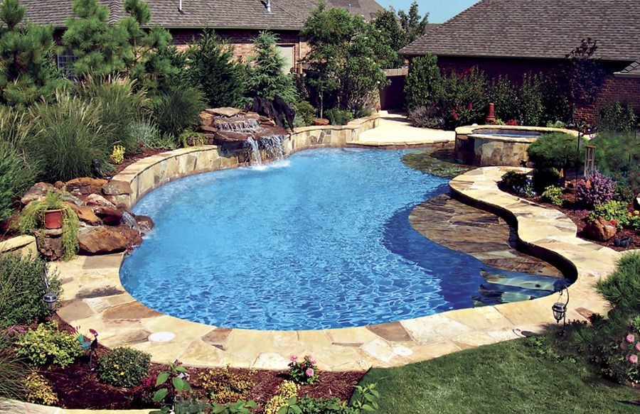 pool with slide, hot tub and waterfall | Freeform pool ... |Small Freeform Pools With Waterfalls