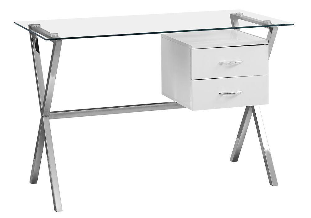 Computer Desk 48 Inch L Glossy White Tempered Glass White Desk Office Office Desk Desks For Small Spaces
