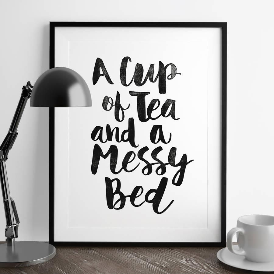 A cup of tea and a messy bed azondpbyoc