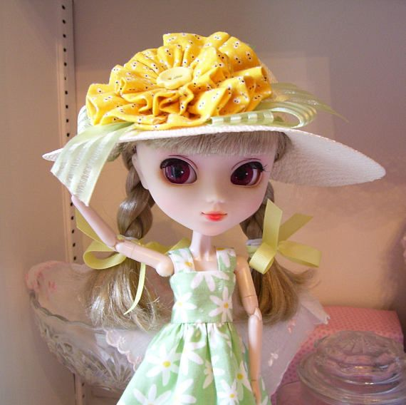 Two Piece Outfit for Pullip doll..Sundress and Matching Hat in