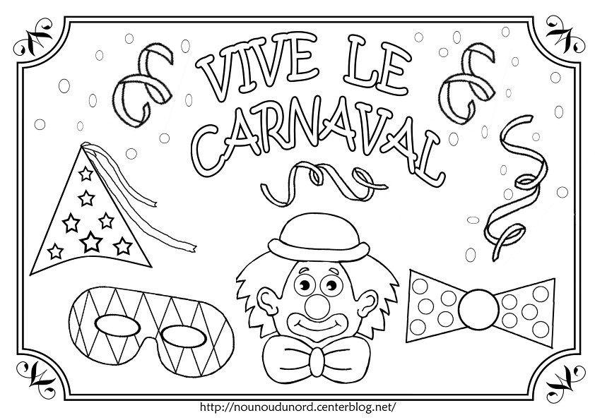 Coloriage Arlequin Ce1.Coloriage Vive Le Carnaval Illustre Par Nounoudunord