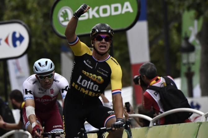 Dylan Groenewegen Celebrates A Champs Elysees Victory Tour De France Lotto Soudal Sprinter