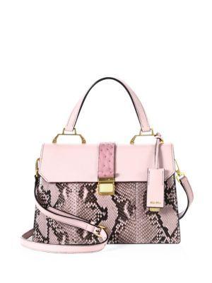 Miu Madras Patch Python Top Handle Bag