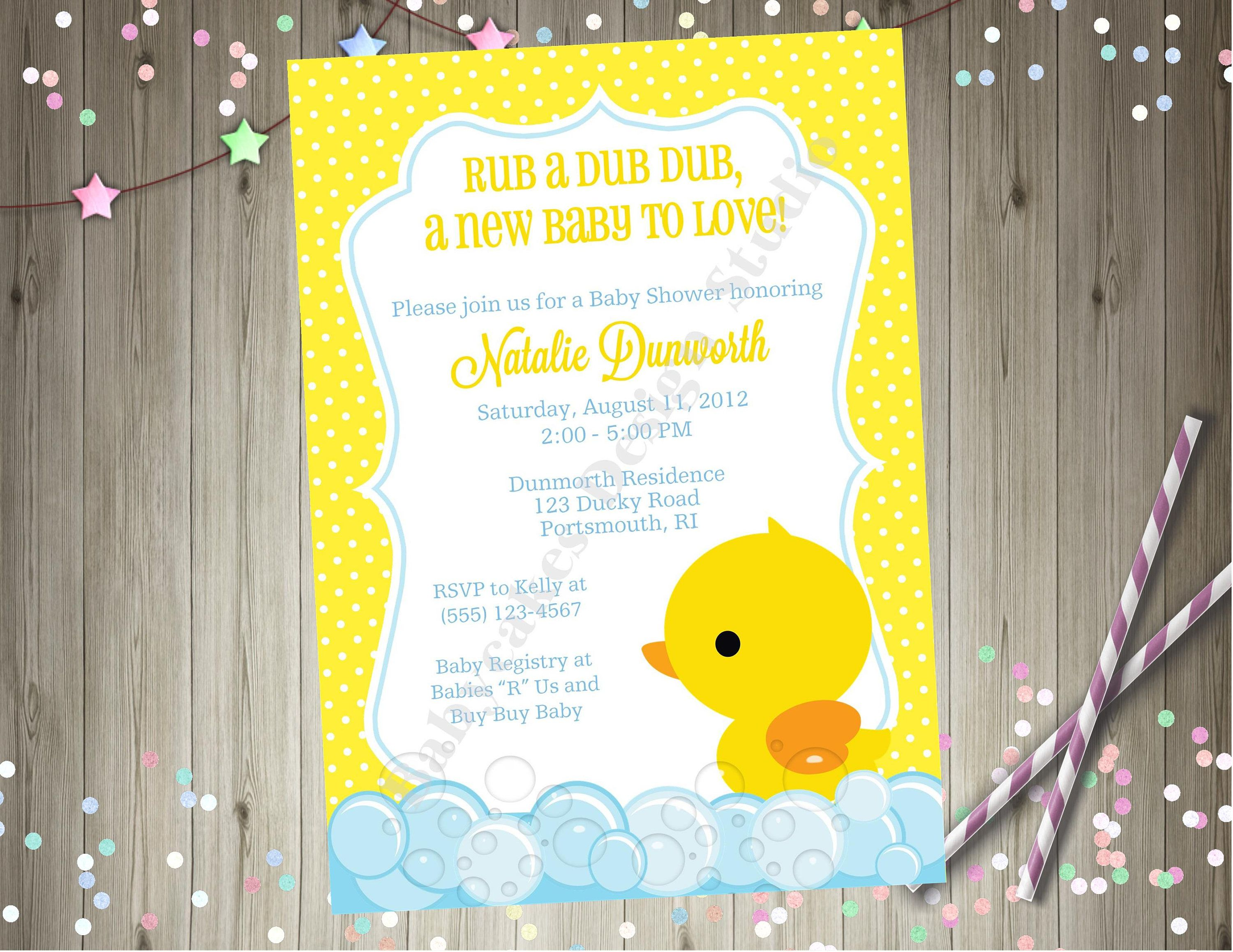 Rubber Ducky Baby Shower Invitation invite Gender Reveal Baby ...