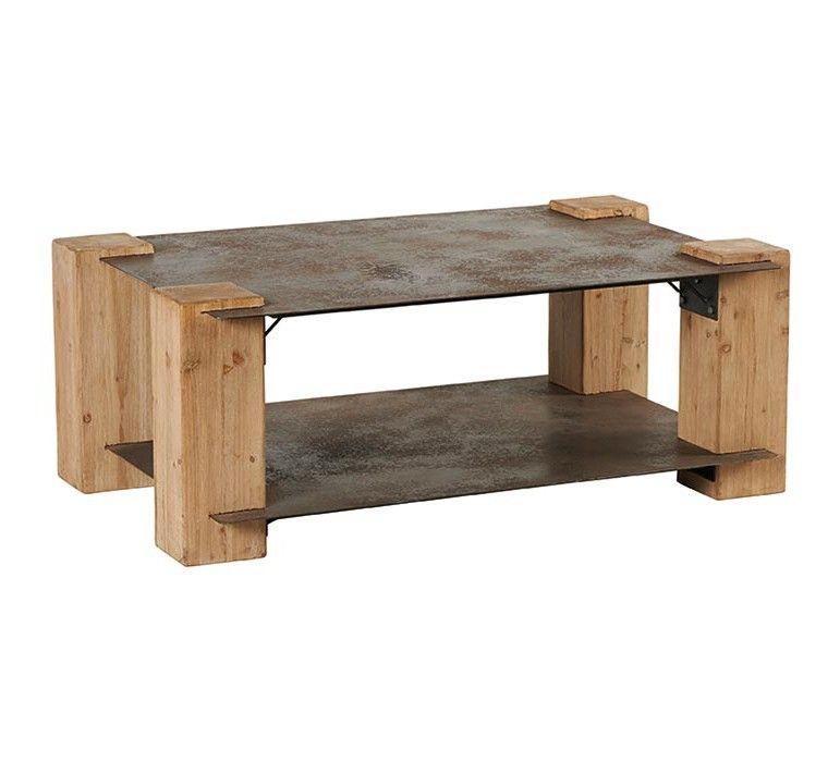 Table Basse Industrielle Metal Et Bois Massif Double Plateau Acty Table Basse Table Basse Industrielle Table Basse Bois