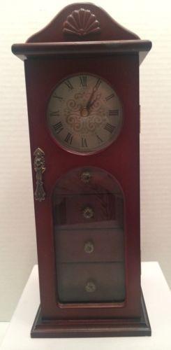 VINTAGE AVON Cherry WOOD Glass TALL Clock Tower Wooden JEWELRY BOX