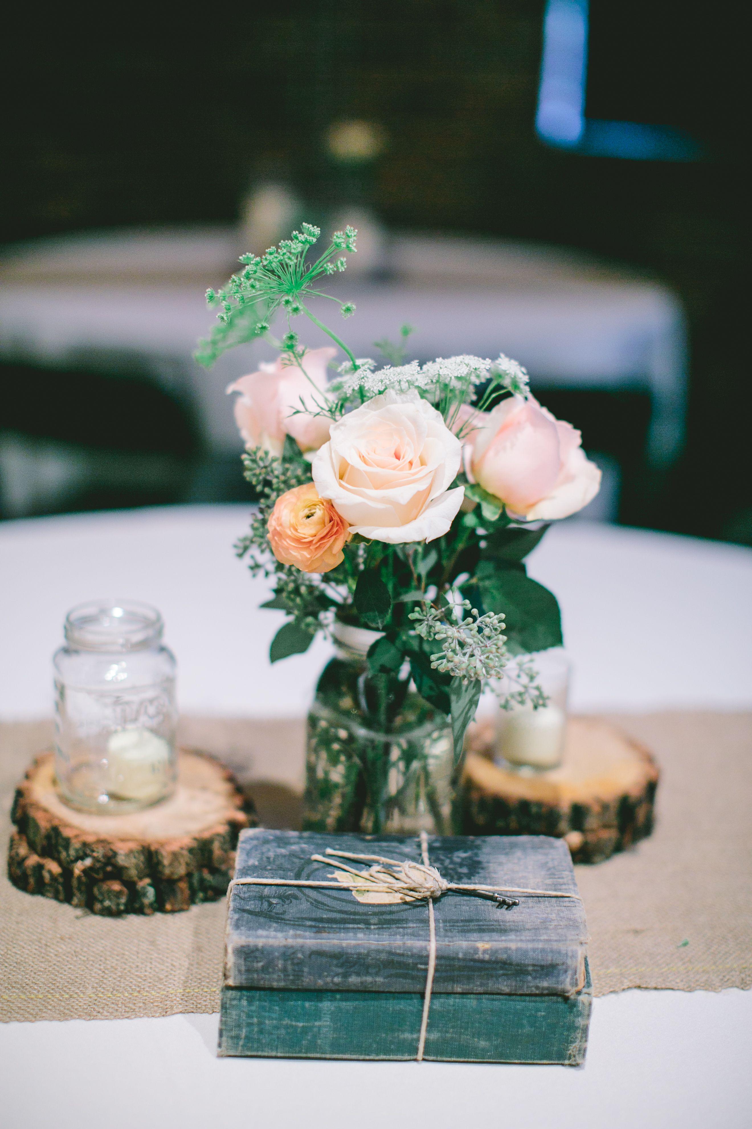 Pink Rose And Vintage Book Centerpiece Wedding Flowers Pinterest