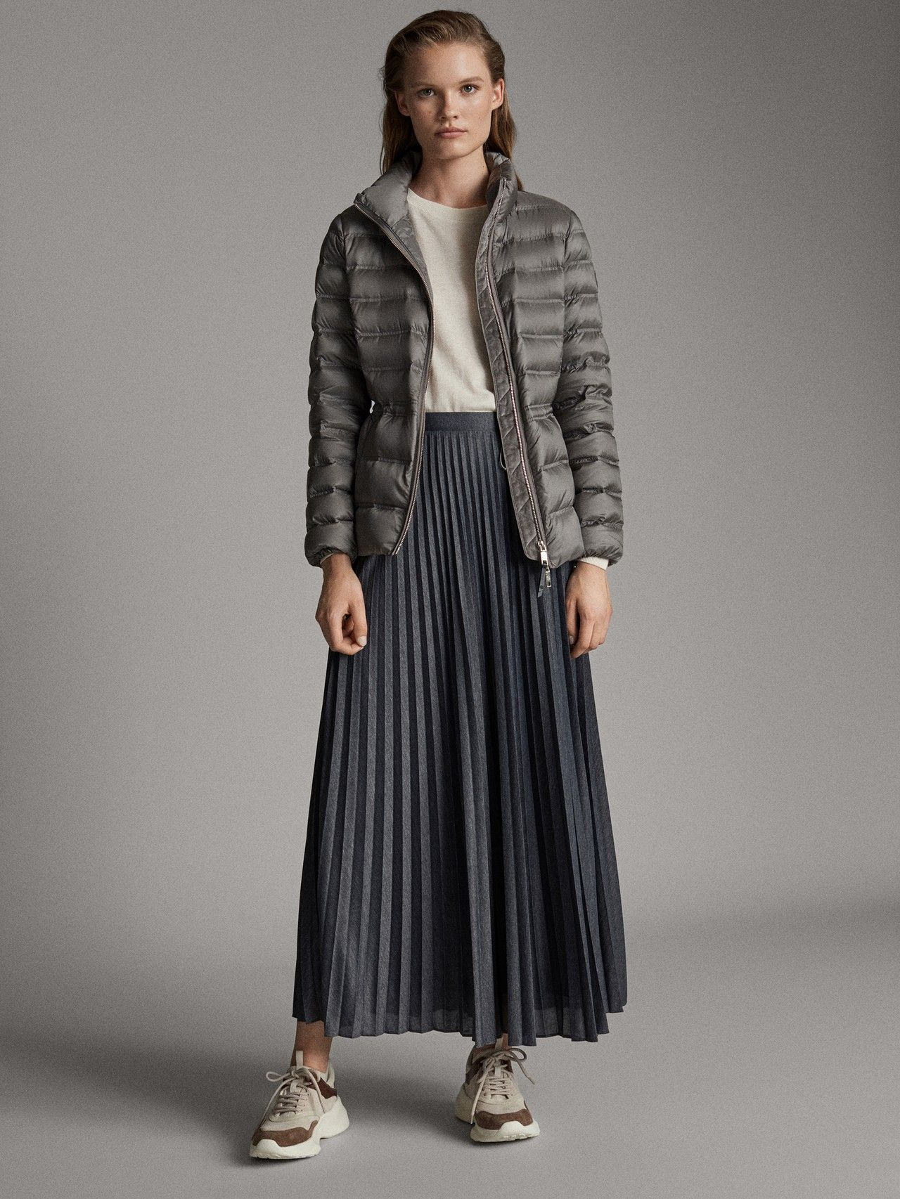 down Grey Quilted jacket Massimo Xs Dutti Women BWoderCx