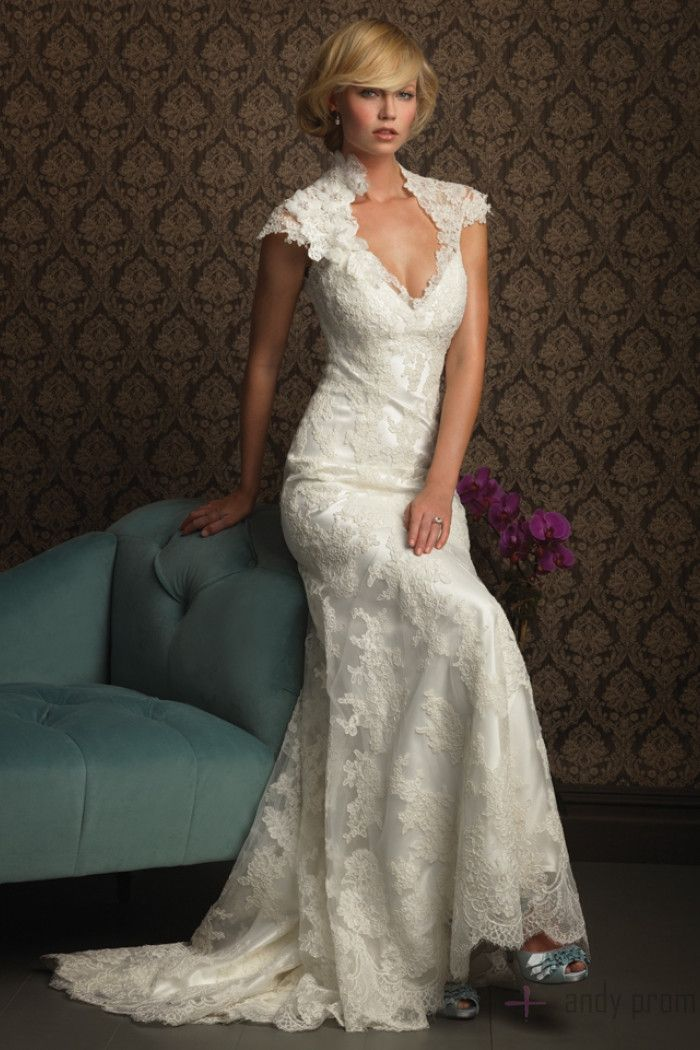 Keyhole Back Fall High Neck Lace Cap Sleeves Wedding Dress Lace