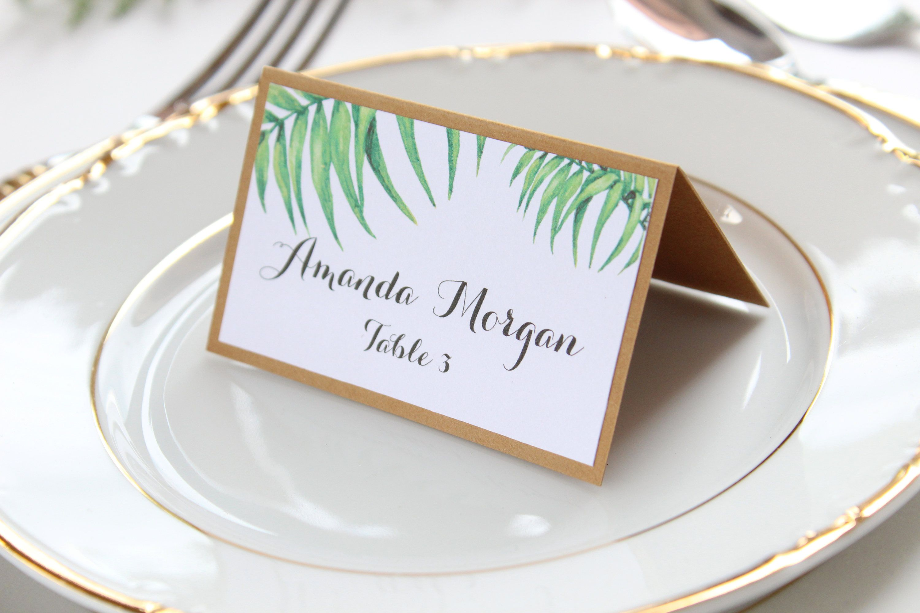Sample Greenery Place Cards Palm Place Cards Tropical Place Cards