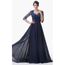 Yarim Kollu Dantel Uzun Abiye Elbise The Dress Balo Elbiseleri
