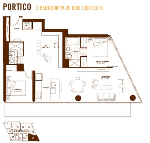 Burano condos portico 2 bedroom plus den 1090 sq ft for Simple condo design