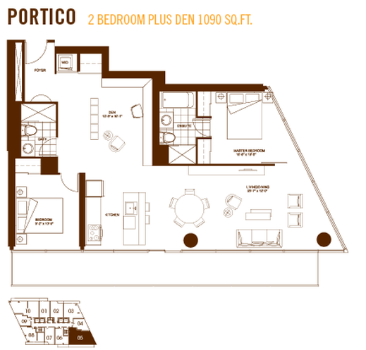 Burano Condos Portico 2 Bedroom Plus Den 1090 Sq Ft Burano Condo Floor Plans