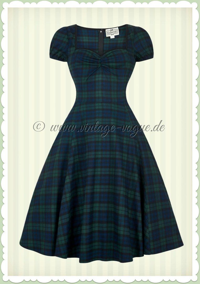 Collectif 40er Jahre Vintage Tartan Karo Kleid - Mimi - Navy Blau ...