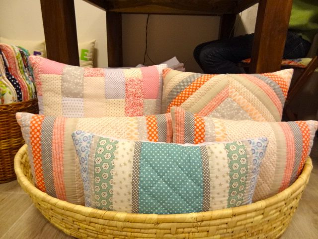 Some patchwork cushions