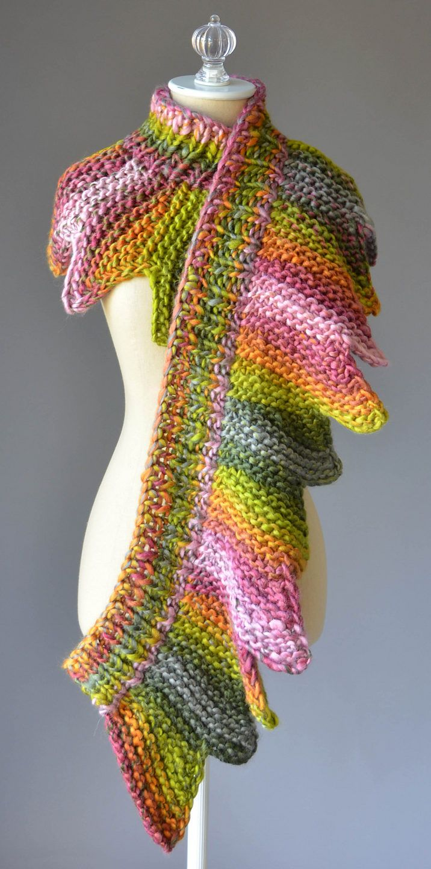 Free Knitting Pattern for 18 Petals Scarf | DIY | Pinterest ...