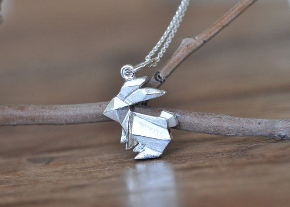 Bunny Necklace Rabbit Lover Gift Origami Jewelry Simple Dainty Necklace Sterling Silver Origami Rabbit Pendant