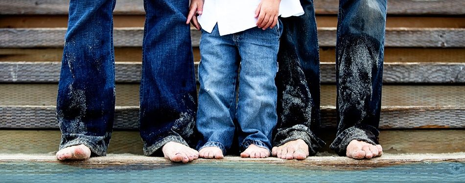 Family in jeans