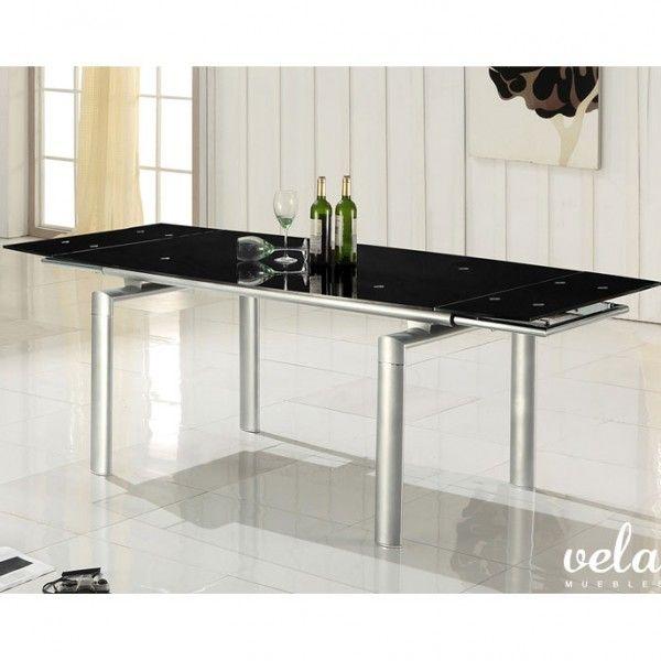 Mesa para comedor extensible en cristal blanco puro y sillas ...