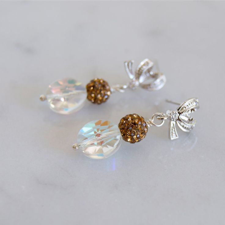 Swarovski Earrings Vintage Oval Beads Clear Ab Beaded Bronze Cubic Zirconia Silver Bow Tie By Elektrajewelry On Etsy