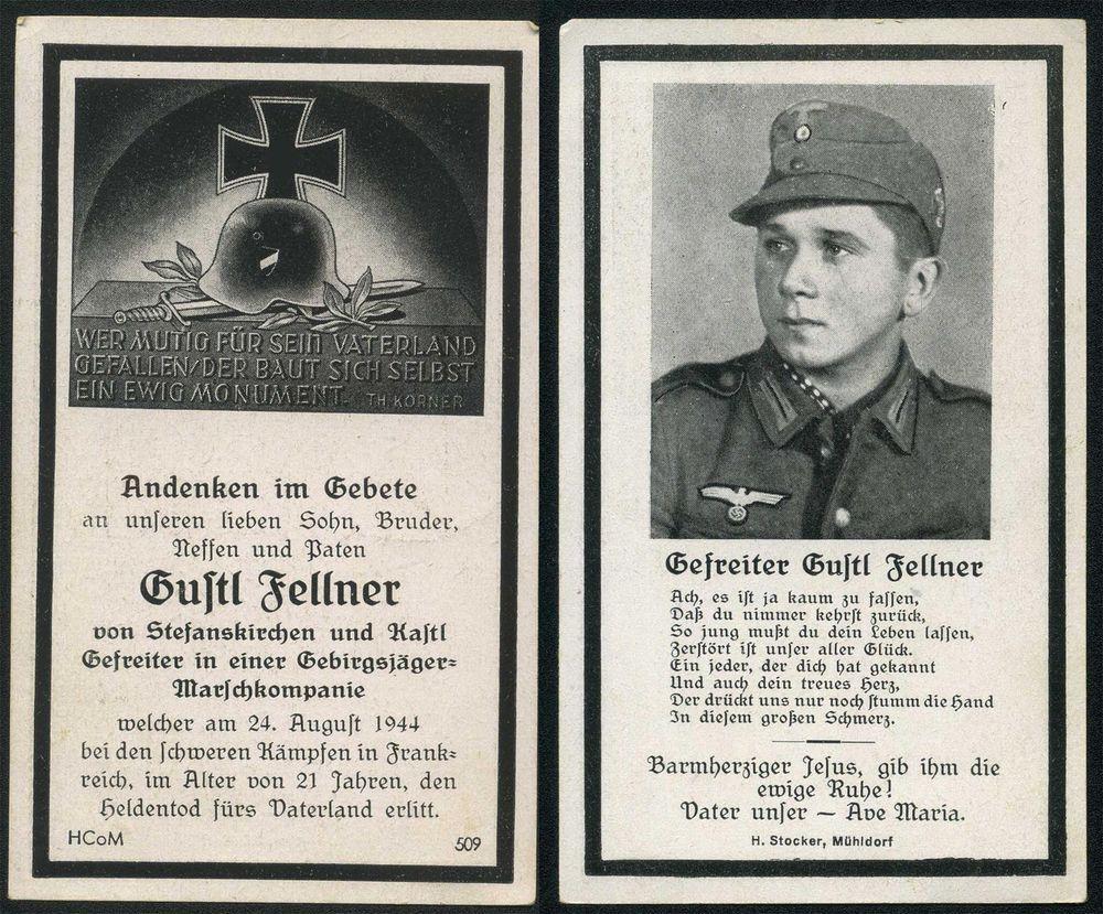 orig. WK2 STERBEBILD - DEATH CARD - INVASIONSFRONT - FRANKREICH 1944 - EDELWEISS