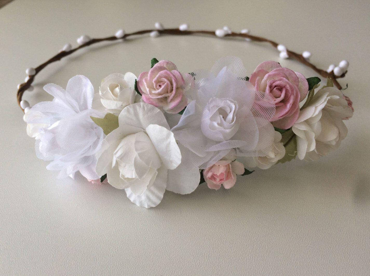Flower Crown Wedding Rose Crown White Soft Pink Rose And Pip