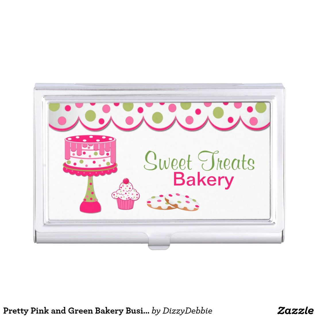Pretty pink and green bakery business card holder bakery pretty pink and green bakery business card holder reheart Images
