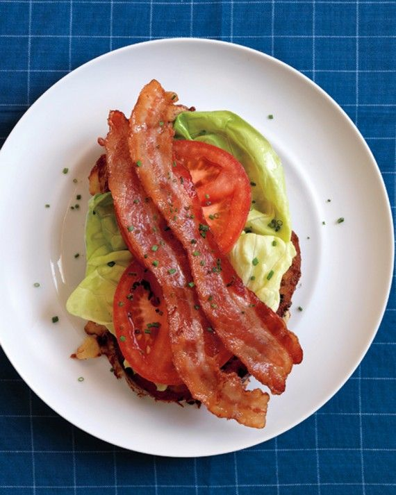 Savory chive-studded French toast is topped with that irresistible trio, bacon, lettuce, and tomato. Serve this easy, creative open-face BLT for brunch, lunch, or dinner.