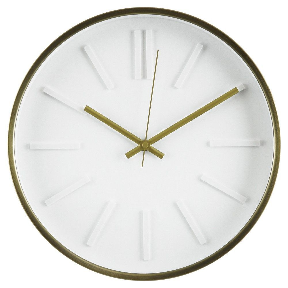 13 Wall Clock with Raised Marker Brass - Threshold, Black | Wall ...