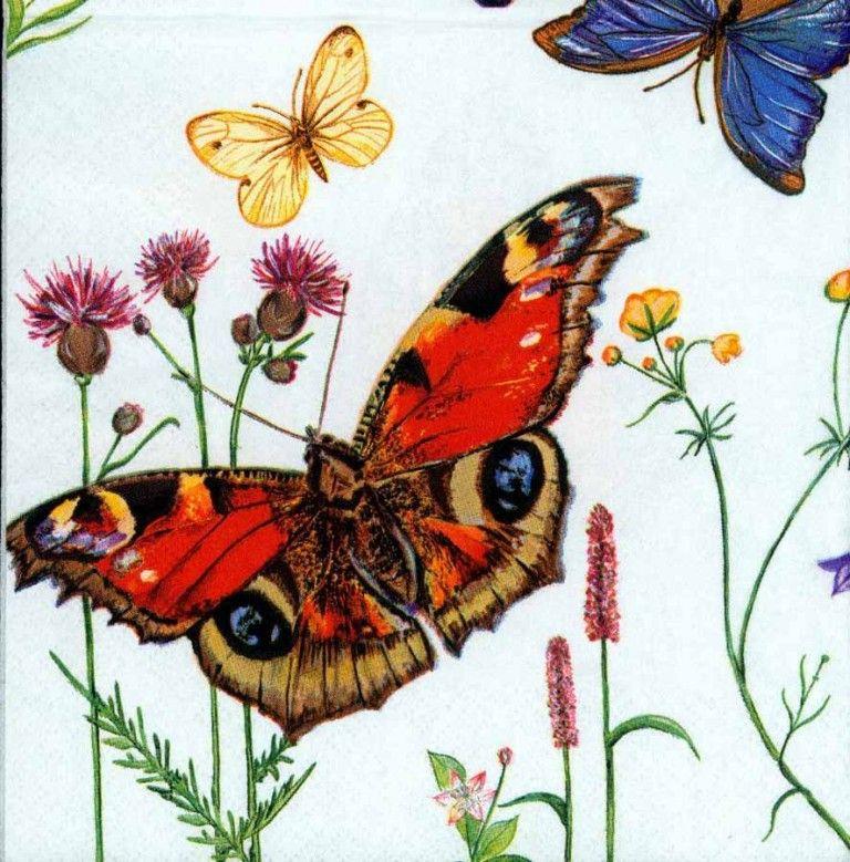 Decoupage Paper Napkins of Five Butterflies | Chiarotino #papernapkins