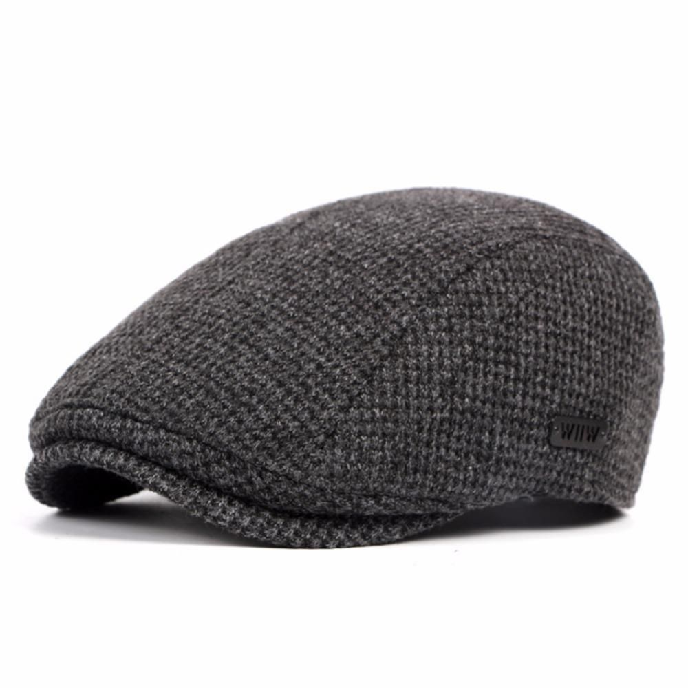 e7aa1b56361f Brand Wool Beret Men Winter Flat Cap Gray | Products | Hats, Mens ...