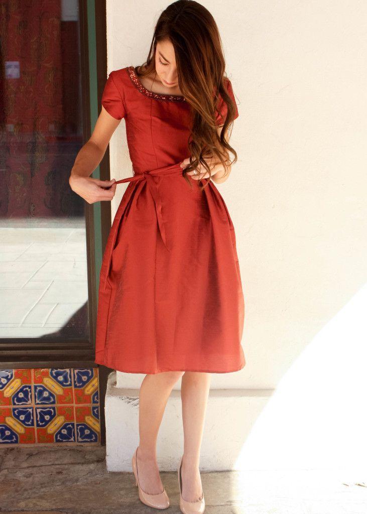 8d5f599fc424 Moo s Musing eShakti custom dress burnt orange semi-formal dress outfit for  Christmas dinner or dance or prom