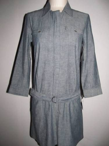 NEW Theory size 6 shirtdress . . . indigo blue.  Belted drop waist, washable cotton.  Men inspired styles are HOT this fall!  This qualifies for double eBay bucks today only because it's over a fifty dollar purchase!