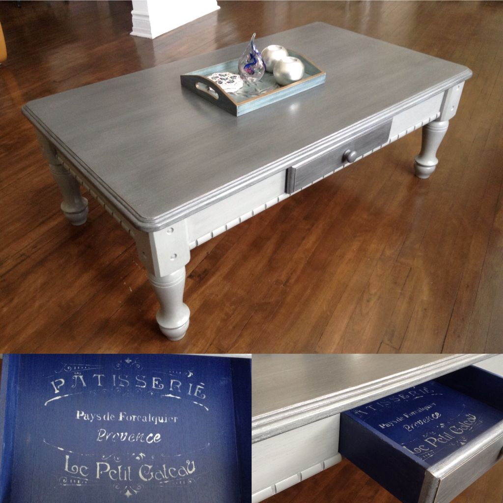 Farmhouse Coffee Table Chalk Painted Two Tone Gray With Silver