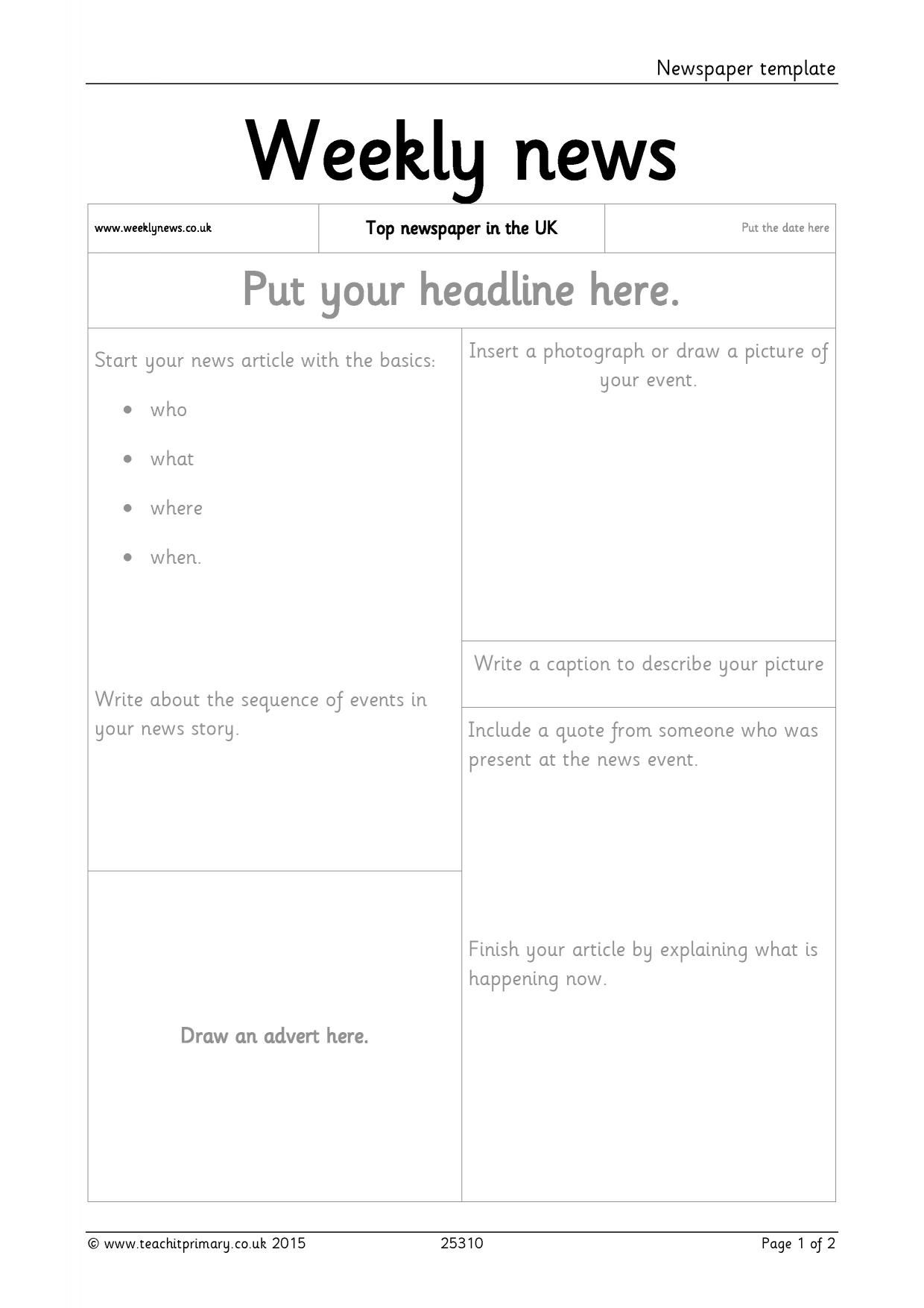 Newspaper Template Throughout Report Writing Template Ks1 In 2020
