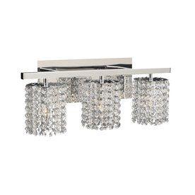 3 Light Rigga Polished Chrome Crystal Bathroom Vanity Light