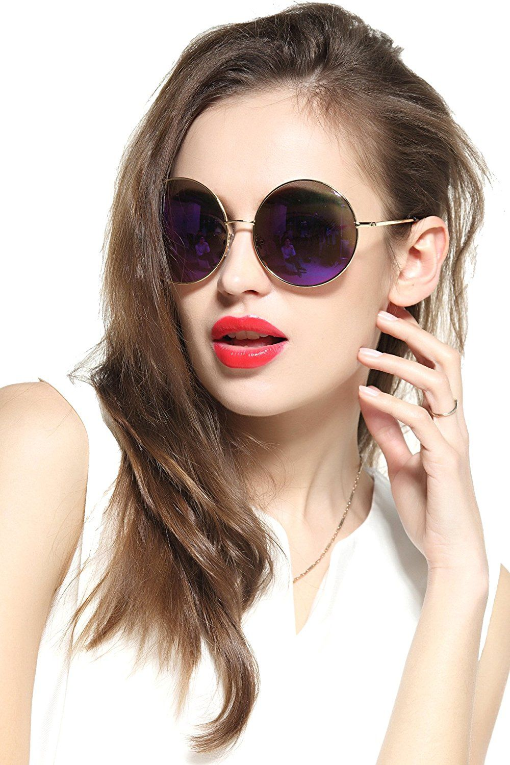 c3c7c0eb89 AmazonSmile  GEELOOK Oversized Round Circle Mirrored Hippie Hipster  Sunglasses - Metal Frame  Clothing