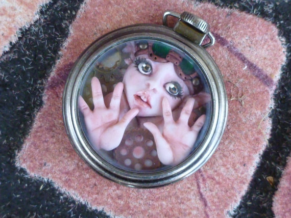 Handemade Polymer Clay Steampunk Myxie Pocket Watch by MysticReflections on Etsy,