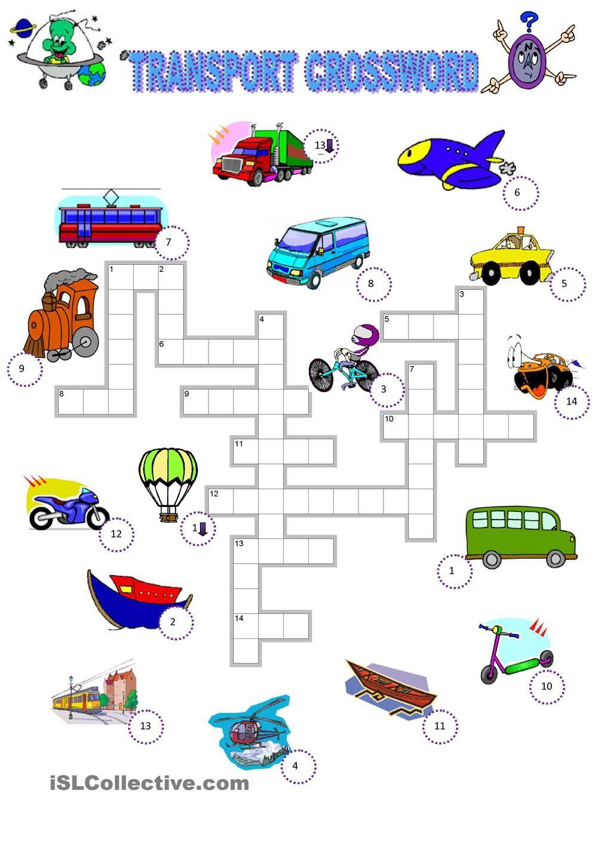 Worksheets Transportation Worksheets transport crossword anchor charts pinterest english games class transportation worksheet activity fun activities
