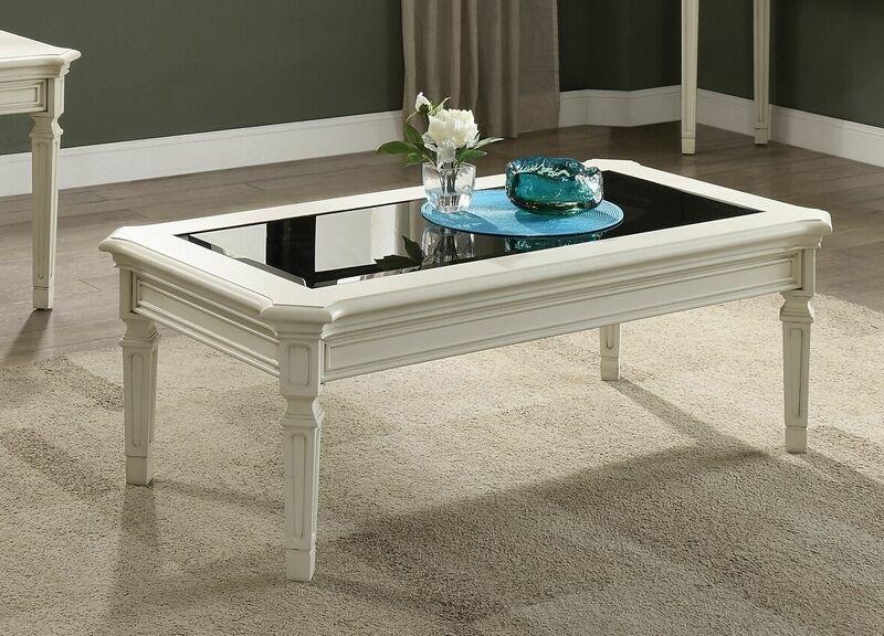 Best Acme 83090 Florissa Antique White Finish Wood Black Glass 400 x 300