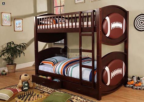 A.M.B. Furniture & Design :: Bedroom furniture :: Bedroom Sets :: Bunk Bed Sets :: Olympic IV Espresso Wood Finish Padded Football Sports Theme Design Twin over Twin Bunk Bed With Fixed Front Access Ladder