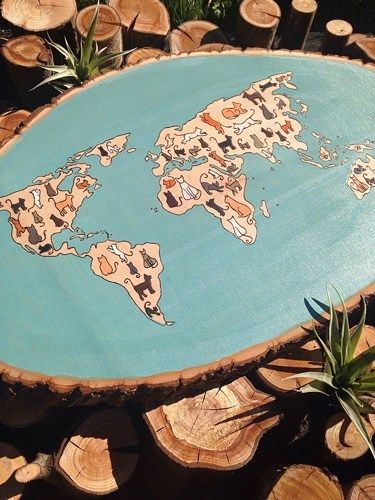 Cat Map Of The World.Map World Map Cats Cat Lady Home Decor Map Of The World Wood