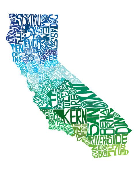 Typographic California Cool Art Print Ny Il And Ca 3 Maybe