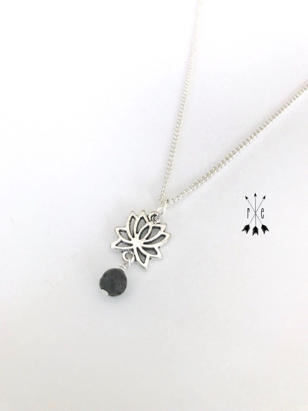 Lotus Flower And Lava Diffuser Necklace Lotus Charm Lava Stone