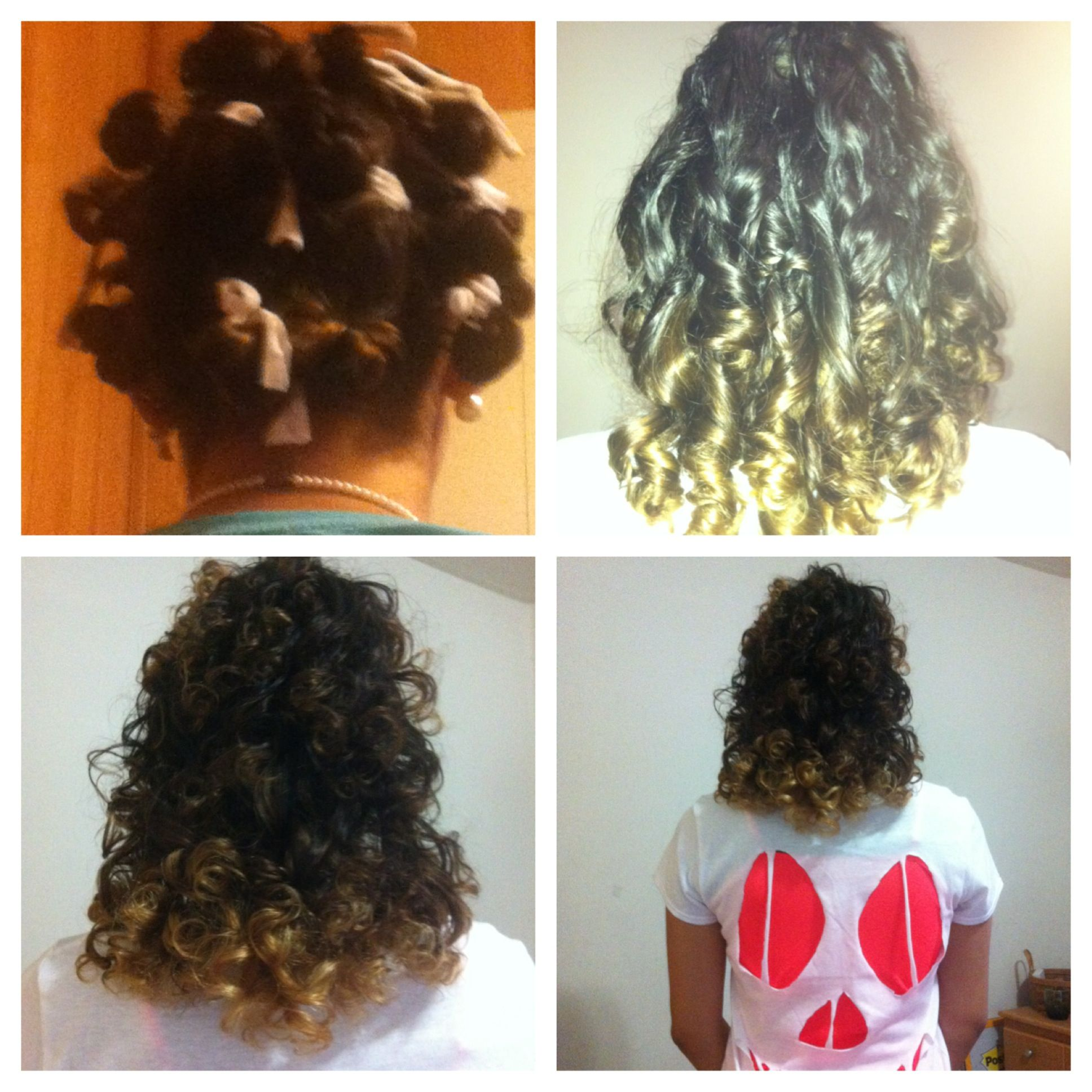 Easy Shirley Temple curls: 1- cut up old pantyhose in strips. 2- take small sections of hair and start at the tips of hair wrapping it around strip. 3- tie it. 4-sleep on it. 5-untie each strip and shake your head back and forth (don't run fingers through, it'll frizz). The End!