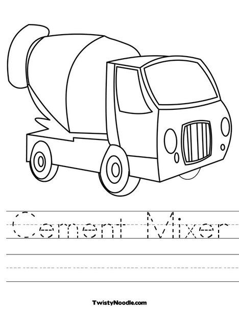 C Is For Cement Mixer Free Printable Sheet Preschool Activities