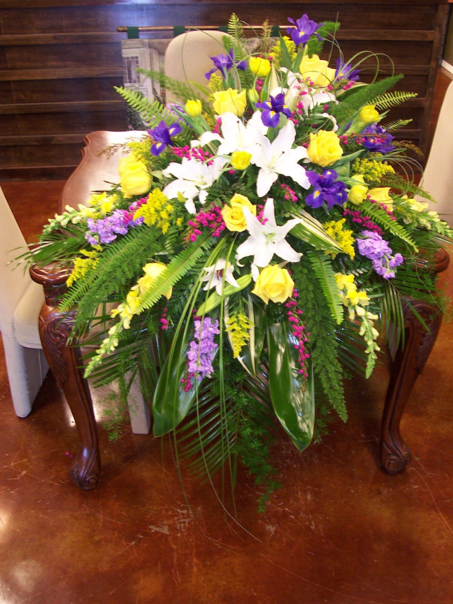 Fresh Arrangement made for a funeral by Deb's Flowers ...  |Casket Flowers