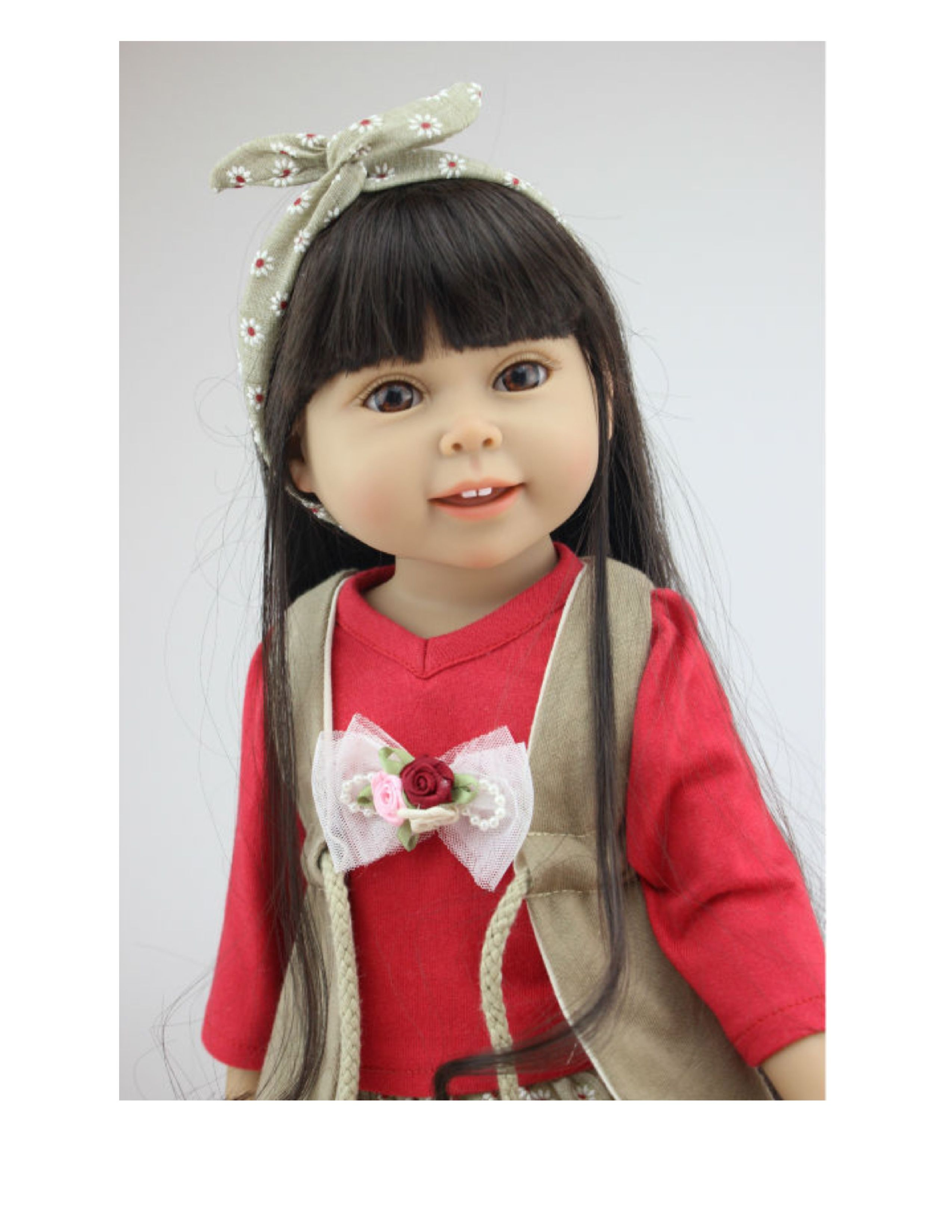 """New 18"""" vinyl doll arrivals at www.harmonyclubdolls.com Realistic eyes, vinyl, and silky kanekalon re-styleable wigged hair. Size of American Girl."""