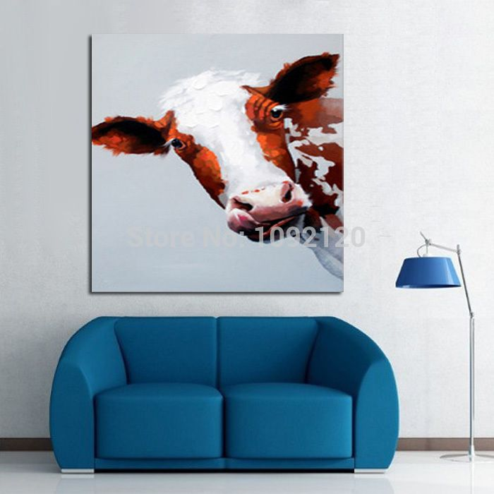 Decorative Art Handmade Oil Painting On Canvas Stupid Cow Picture For  Living Room Home Decor Wall